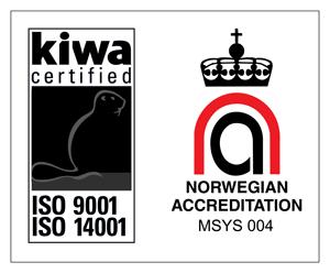 Kiwa certified ISO 9001 ISO 14001 og Norwegian Accreditation MSYS 004 logoer